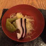HIGASHIYA GINZA 一汁三菜 金糸瓜、タコ、獅子唐 シャキシャキでお出汁の味も美味しい酢の物