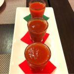 セレブ・デ・トマト 代官山店 トマトジュースのショットの飲み比べw 全然違う! 中には一本1万五千円のものも⁉ 驚愕☆