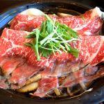 柿安 銀座店。黒毛和牛ロースすき焼膳。