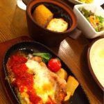 御影 イタリア料理 石窯欧風料理 Gappone ガポネランチ☆メインは鉄板焼で野菜はホクホク、お肉はちょうどいい感じー!うんまー\(^^)/