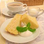 ゆとりの空間 大丸京都店:栗原さんちの晩ごはん  セットのデザート(シフォンケーキとすだちのシャーベット)とコーヒー