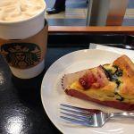 ベーコンとほうれん草のキッシュとコーヒー&クリームラテ@スターバックス・コーヒー 秋葉原駅前店