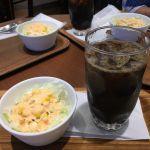 カフェ・ド・クレア 平塚ラスカ店 セットのサラダとアイスコーヒー