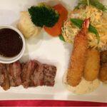 相方はリブロースのカットステーキ、海老フライ、牡蠣フライ、コロッケのプレート 欲張りじゃないっすか  @洋食レストラン 西櫻亭 立川店