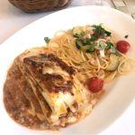 ラザニアとカジキマグロ、ズッキーニとミニトマトのスパゲッティ