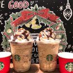コーヒー & クリーム フラペチーノ with コーヒー クリーム スワール ☑︎ホイップ多め ☑︎チョコチップ増量 ☑︎チョコソース追加 赤いカップはクリスマスブレンドコーヒー