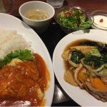 西安餃子 ルミネ立川店 海老チリ飯と五目焼きそばセット
