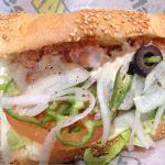 サブウェイ@ヒルズウォーク徳重 えび&紅ずわいがに これ、いままでで一番美味しい!カニの塩気がぴったり。野菜もたくさん食べれてよい! #subwayjp