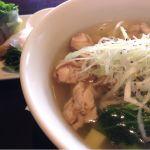 鶏のフォーセット、生春巻きと杏仁豆腐がついてました。フォーは、しっかり生姜が効いてて、優しいお味。