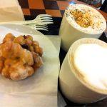 スターバックス・コーヒー イオン八千代緑が丘店   トールスターバックスラテ+低脂肪+ショットと、ローストアーモンドラテと、アップルシナモンフリッター   夕食後の珈琲タイムです。