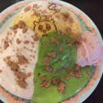 Cafe&zakka pollo 春のパンケーキ祭。とりあえず1回目はいつも食べたい物を♪抹茶クリーム、いちごミルククリーム、いちごクランブル、さくらアイス♡次は何にしようかな◡̈