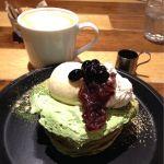 j.s. pancake cafe マークイズみなとみらい店/西尾抹茶のパンケーキ。2018年の1月8日迄の限定🤗抹茶ソースの香りが良くてほんのりした苦味が美味❤️