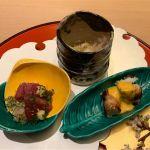 ホワイトアスパラの穴子巻き、カツオのたたき寿司、白魚の天ぷら蕎麦。@銀座 kappou ukai