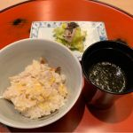 地鶏の炊き込みご飯、生海苔の味噌汁、お新香。@銀座 kappou ukai