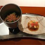 先付。小松菜浸し スルメ素揚げかけ、蟹味噌豆腐  湯葉と蟹身。@なだ万茶寮 渋谷店