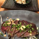 藁焼き鰹のタタキとハランボ。五穀 岡南店