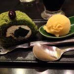 京風スパゲッティー 先斗入ル 博多エルガーラ店。抹茶のわらび餅ロールケーキかぼちゃアイス添え