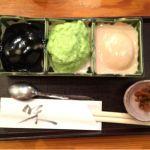 村上屋餅店で三色餅 ずんだ、くるみ、ごま どれも濃厚で甘さ控えめで美味しい。