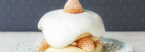 """【スフレパンケーキ専門店フリッパーズ】白いちごの""""淡雪""""を使用した""""ぷるぷる""""パンケーキ登場"""