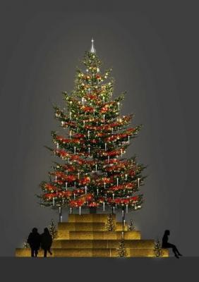 六本木ヒルズ 66 プラザイルミネーション クリスマスツリー