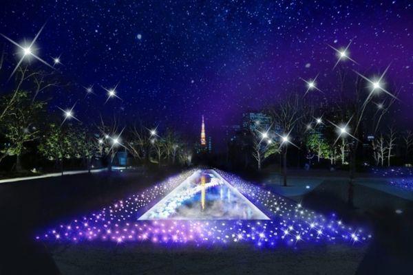 品川シーズンテラスならでは、東京タワーをバックにした水景と光の共演