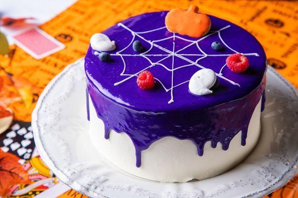 かぼちゃとぶどうのスパイダーケーキ
