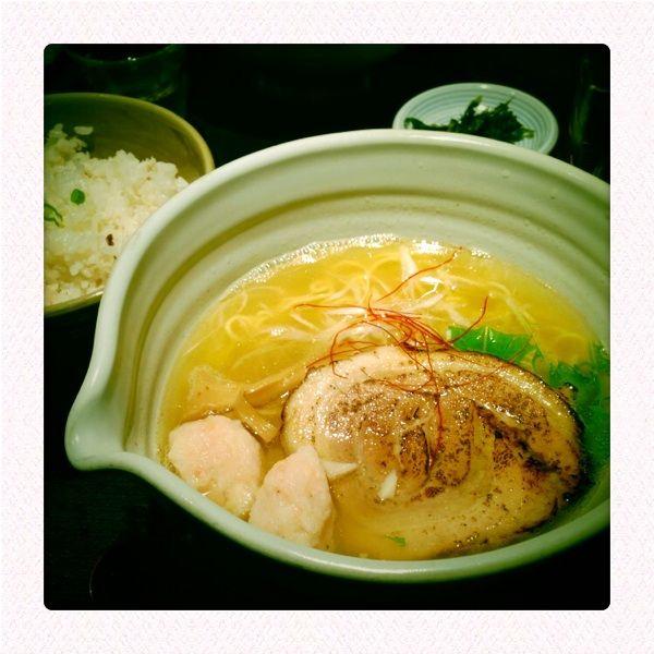 銀笹ラーメン(塩)+鯛飯@麺処 銀笹 /あっさり系のスープを別注文の鯛飯に入れれば鯛茶漬け、これが美味い(^^)v
