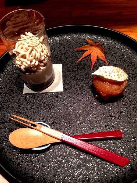 さが風土館 季楽  美味しい佐賀牛をいただいた後のデザート 右タルトタタンと左きな粉のムース♡