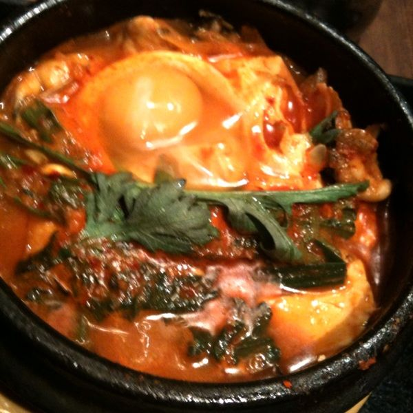 五韓満足 八重洲店、お野菜、魚介、豚肉たくさんのスンドゥブ❤