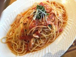 トラットリア コルティブォーノ東京   タコとトマトのパスタ(セット内)   蛸が麺状に切ってあり面白い!
